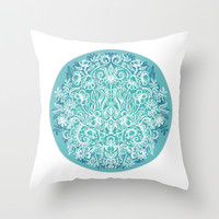 Spring Arrangement - teal & white floral doodle Throw Pillow by Micklyn