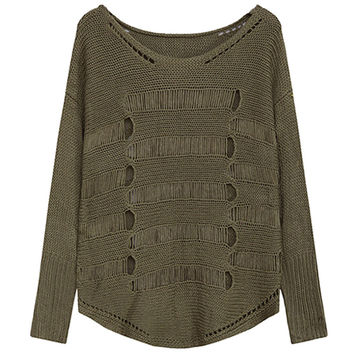 Army Green Cutout Pullover Knitted  Sweater