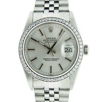 Pre-Owned Rolex Mens Datejust Steel Diamond & Silver Index Watch Jubilee