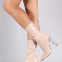 Patent Pointy Toe Lucite Heel Boots