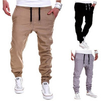 New 2016 Stylish Casual Elastic Bandage Waist Pants Sports Collapse Pants Baggy Pants Solid Color Trousers Male Joggers Pants [9221777092]