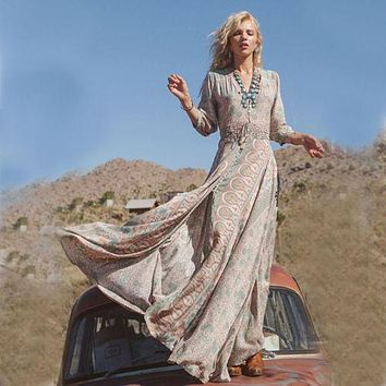 """Boho Maxi Dress Floral Chiffon """"Blossom"""" Thin Breezy Turquoise Tan Summer Gown 3/4 Peasant Sleeves Small Medium Large Or Extra Large"""