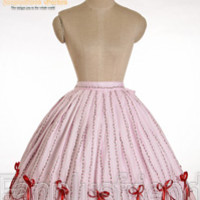 Sweet Country Lolita: Rose Piece Tiered Back Scallop Bottom Skirt*Instant Shipping