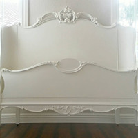Unavailable. ..Stunning VERY Rare Antique Wrap Headboard Footboard Sidetails FULL SIZE Ivory Finish Romantic Victorian Boudoir Glam Bed
