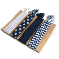 Elastic Hair Ties Navy and White Polka Dot Chevron Yoga Hair Bands