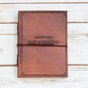 Rust And Stardust Quote Embossed Brown Leather Journal