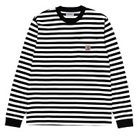 Scotty Stripe Long Sleeve Pocket Tee in Black