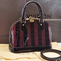 Authentic Louis Vuitton Vernis Almarante Rayures Alma BB Hand Bag M91700 #S874