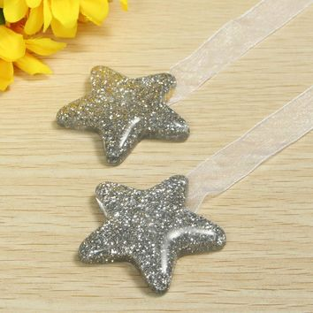2pcs Pair Star Shape Curtain Clips Holdbacks Magnetic Curtain TieBacks Curtain Holder Buckle Magnetic Tie Rope Home Decorations