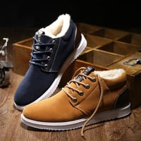 Hot 2016 Winter Boots Men's Casual Shoes Boots Plus Velvet Warm Shoes To Help Low Suede Shoes