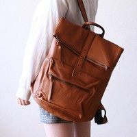 Square Shape Leather Backpack - Tan Brown