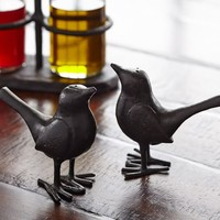 BRONZE FINISH BIRD SALT & PEPPER SHAKERS