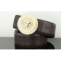 Versace belt men's double-sided leather waist fashion wild smooth buckle belt Coffee/gold