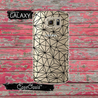 Black Geometric Line Crack Line Art Cool Tumblr Inspired Clear Galaxy S6 Case and Clear Galaxy S6 Edge Case Custom Samsung Case