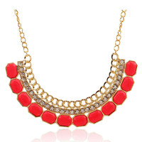 Red Crystal and Stone Statement Chain Necklace