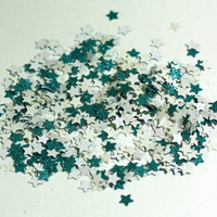 Turquoise and White Glitter Star Confetti - Wedding Pary Decoration - Table Scatter - Handmade