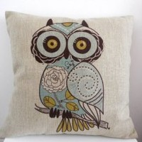 "HOSL Cotton Linen Square Decorative Throw Pillow Case Cushion Cover Cartoon Green Cute Cartoon Owl 18 ""X18 """