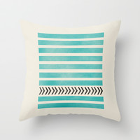 TEAL STRIPES AND ARROWS Throw Pillow by Allyson Johnson