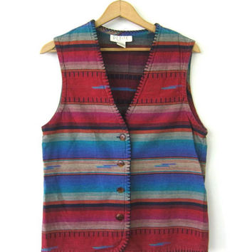 90s Southwestern Vest 1990s Red Turquoise Bohemian Chic Vest Vintage Western Vest Sleeveless Shirt Womens size Small