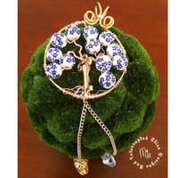 China Beads Mad Alice Tree of Life Car Mirror Charm with Magnetic Lock (Alice in Wonderland Collection)