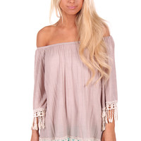 Stone Loose Tunic with Crochet Hem Detail