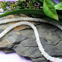 Moonstone Bead Necklace, Rainbow Moonstone Necklace 925, Sterling Silver, White Stone Jewelry, Handmade