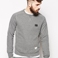 True Religion Crew Sweatshirt In Slim Fit With Applique Patch - Anthra