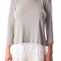 Trendy Knit Top W/ Sheer Lace Trim