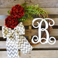 Monogram Wreath,Grapevine Wreath, Door Wreath, Custom Wreath, Peony wreath, Vine Monogram and a Chevron Burlap Bow