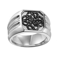 AXL by Triton Stainless Steel Celtic Knot Ring - Men (Grey)