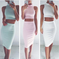 Womens Solid Top and Dress Set