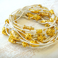 White and Gold Leather Bracelet / Necklace