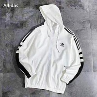 Adidas Autumn And Winter New Fashion Embroidery Letter Leaf Women Men Hooded Long Sleeve Sweater Coat White