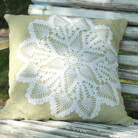 Vintage Doily Green Linen Pillow Cover 18 x 18