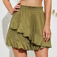 2020 new women's high waist loose ruffled all-match solid color skirt