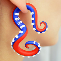 Patriotic Octopus Ear Plug and Fake Plug / Independence Day Earrings / US Flag, Tentacle Gauge Earring, United States, USA, American Flag