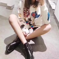 """Gucci"" Women Fashion Casual Peony Flower Butterfly Print Hooded Long Sleeve Sweater Tops"
