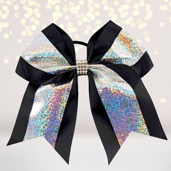 Black Hologram and Rhinestone Cheer Bow, Hologram Glitter Cheerleading Bow