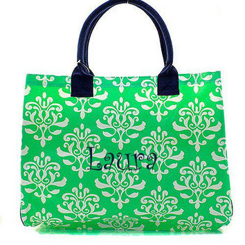 Personalized Monogrammed Large Tote Bag  Mint Damask