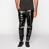 Elwood Mens Faux Leather Jogger Pants Black  In Sizes