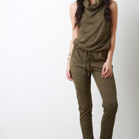 Cowl Neck Rib Knit Sleeveless Jumpsuit