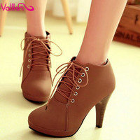 VALLKIN Beige Elegant Thin High Heel Ankle Boots