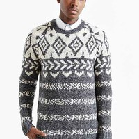 CPO Engineered Pattern Crew Neck Sweater- Charcoal