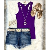Basic Racerback Scoop Tank: Purple