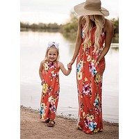 Mommy & Me Floral Dress Set, Mommy Sizes Small - XLarge, Daughter Sizes 3 - 10 years