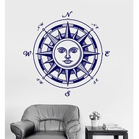 Vinyl Wall Decal Sun Compass Windrose Nautical Art Bedroom Decor Stickers Unique Gift (075ig)