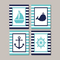 Kids Nautical Bathroom Decor Boy Nursery Decor Nursery Wall Art Navy Aqua Breeze Whale Anchor Sailboat Set of 4 Prints Or Canvas