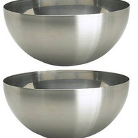 "2 IKEA serving bowl 11"" Large Stainless Steel Salad Food Dinner Utensil BLANDA"