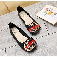 Women Elegant Temperament Stripe Metal Buckle Letter Square-toe Shallow Mouth Loafer Flats Shoes Single Shoes