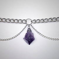 Amethyst Crystal Multi Curb Chain Choker Single Double or Triple Layer Dark Silver Chain Collar Necklace Raw Point Pendant AC27